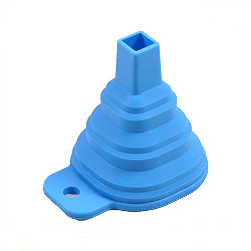 WARMWORD Portátil telescópica Plegable de Silicona líquida de Cuello Largo Embudo de Embalaje Embudo de la Novedad de la práctica y Segura Herramienta de la Cocina, Azul