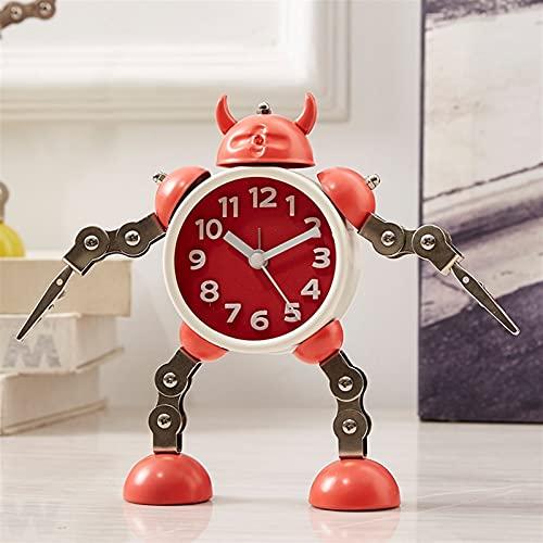 Sggainy Robot deformado niño Estudiante Despertador Reloj de Alarma Retro Pared Reloj de Cuarzo Personalidad Simple Noche luz ruidosa Anillo Campana habitación Dormitorio Oficina Sala de Estar Porche