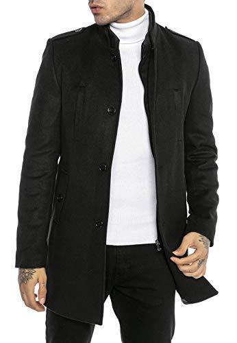 Redbridge Cappotto da Uomo elegante Giacca lunga invernale Slim Fit Transformable Nero XXL
