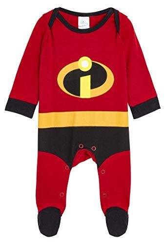 Disney The Incredibles Baby Body, Baby Strampler Junge, Langarm Schlafanzug mit Füße, Kleidung für Neugeborenen, Baby Kostüm, Pyjama Strampler, Neugeborenen Geschenk (Rot, 12-18 Monate)