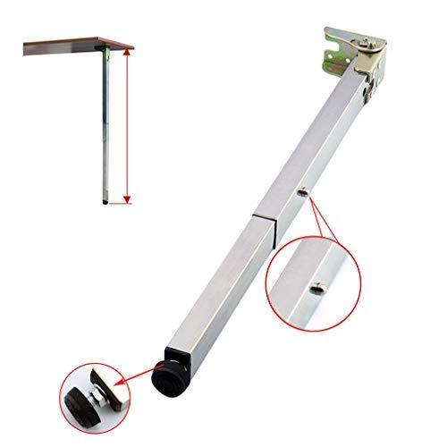 Edelstahl DIY Möbelfüße Tischbeine,Klapp Teleskop Bar Schreibtischbeine,Push-Pull Lift Esstische Schrankbeine,50-130cm,Verstellbare Schutzbasis,mit Schrauben (60cm/23.6in)