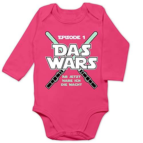 Shirtracer Zur Geburt - Das Wars Jetzt Habe ich die Macht Junge - 6/12 Monate - Fuchsia - Body an jetzt Habe ich die Macht - BZ30 - Baby Body Langarm