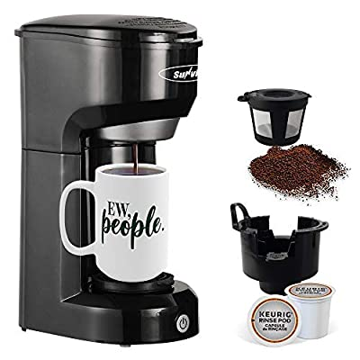 K-CUP Coffee Maker, Stamo Single-Serve Coffee Brewers with Permanent Filter, 6-14OZ Reservoir One-Touch Button Coffee Machines, 1000W Fast Brew Technology Auto Shut Off