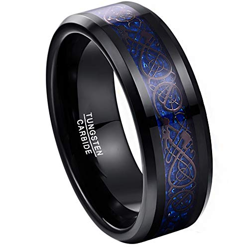 TUNGSTORY 8mm Celtic Dragon Blue Carbon Fiber Wedding Rings Black Tungsten Carbide Engagement Band Size 9.5