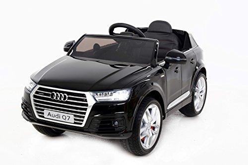 RIRICAR Audi Q7 Quattro, Macchina Elettrica Bambini, Nero, Porte a Battente, Seduta in Pelle, Licenza, a Pile, 2X Motore, 12V Batteria, Telecomando 2.4 GHz, Ruote Soft Eva, avviamento Dolce