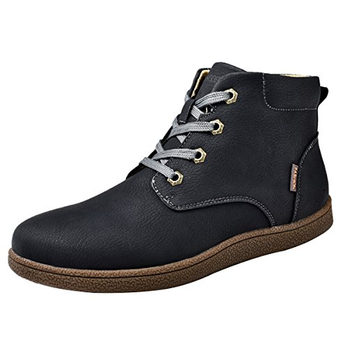 Martin boots for Men, Gracosy Men's Fashion Leather Lace up Boots Winter Cotton Lining Shoes Waterproof Boots Black Tag 45