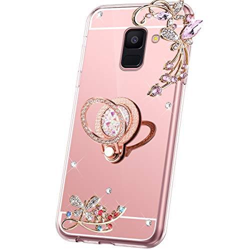 JAWSEU Compatible avec Samsung Galaxy A5/A8 2018 Coque Miroir Silicone, Brillant Bling Glitter Miroir Housse[Support de Bague] Souple TPU Fleur Papillon Paillettes Strass Diamant Case,Or Rose