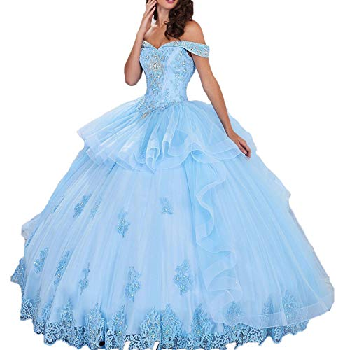 Thrsaeyi Women's Off Dress Prom Ball Gown 2018 Prom Party Evening Ball Gown