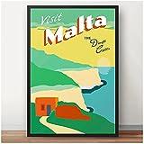Tiiiytu Sur de Europa Mediterráneo Malta Valletta viajes pared arte cartel lienzo pintura revestimiento decoración del hogar impresión en lienzo-50x70cm sin marco