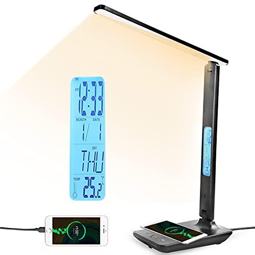 Lampara Escritorio Mesa LED Flexo Táctil 3 Temperaturas Color 5 Niveles Brillo Luz Libro Nocturna Lectura Teléfono Cargador Inalámbrico USB LCD Calendario Temperatura Despertador (Negro)