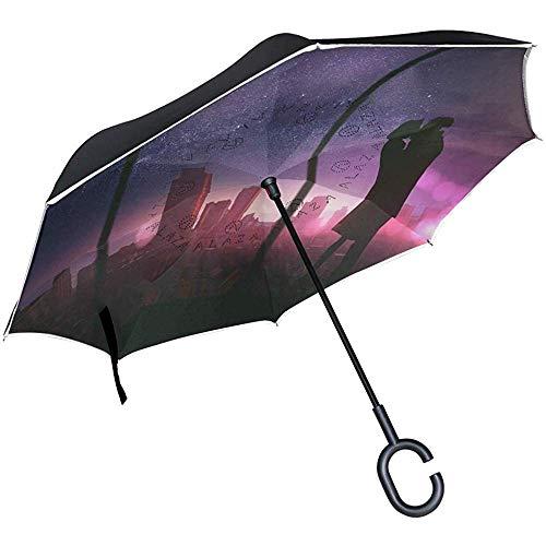 Omgekeerde paraplu kus romantische paar liefde behang omgekeerde paraplu omkeerbaar voor golf auto reizen regen outdoor zwart
