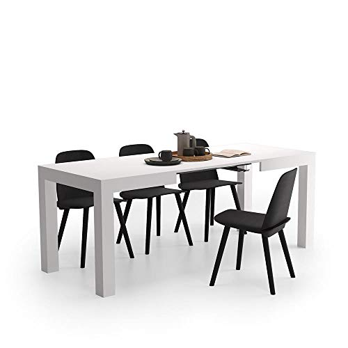 Mobili Fiver, Mesa de Cocina Extensible, Modelo First, Color Fresno Blanco, 120 x 80 x 76 cm, Made in Italy