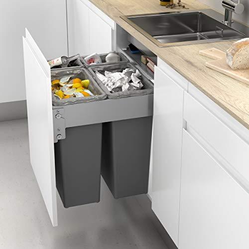 Cubos de Reciclaje Frontal Integrado en Mueble de Cocina con 4 contenedores   2 Cubos de 35L y 2 Cubos de 8L