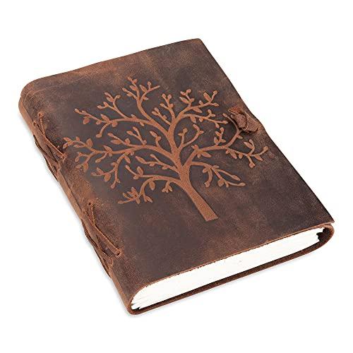 Leder Notizbuch Tree of Life | 240 Seiten aus blanko säurefreiem Baumwollpapier | 18x13cm Handgemachtes retro Tagebuch, Reisetagebuch, Bullet Journal, Skizzenbuch, Handlettering Buch | braun