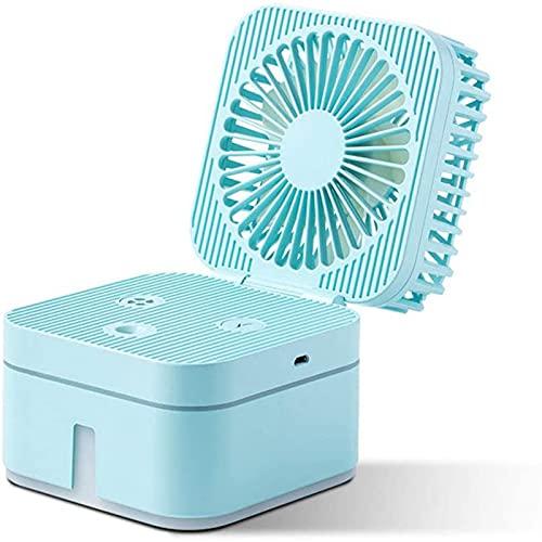 PEARFALL Mini USB Spray de escritorio Fan personal, Portátil humidificador Plegable Ventilador de escritorio de enfriamiento, Para el hogar, la oficina, al aire libre, dormir, etc. (azul)
