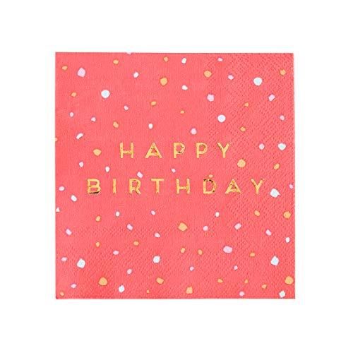 Talking Tables-Rose Birthday Napkins Servilletas de papel de cóctel de color oro rosa, ideales para té de la tarde, fiesta de cumpleaños, rosenapkins CNAPKIN-HB