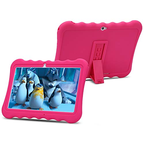 10 inch Kids Tablet PC Android 6.0 OS Full HD Display Tablets for Kids 1GB RAM 16 GB Storage Quad-Core 1.3Hz WiFi Tablet Soft Shock&Kid-Proof Case … (Pink)
