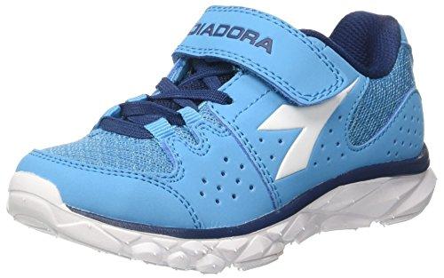Diadora Hawk 7 Jr, Zapatos para Correr Unisex Niños, Azul (BLU Fluo/Bianco), 35.5 EU