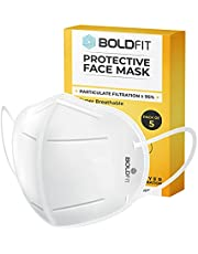Boldfit N95 mask for face (Pack of 5) Anti Pollution, protective.Third Party Tested by manufacturer at SGS & Ministry of Textiles