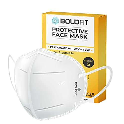 Boldfit Anti Pollution Cotton N95 Reuseable Unisex Face Mask (White, Without Valve, Pack of 5) Third Party Tested by manufacturer at SGS & Ministry of Textiles