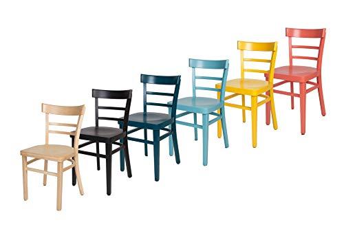 ERIDES Stühle für Küche und Esszimmer, Robuste Struktur aus Buchenholz, bunt lackiert und Sitzfläche aus Holz (Lachs Rot)