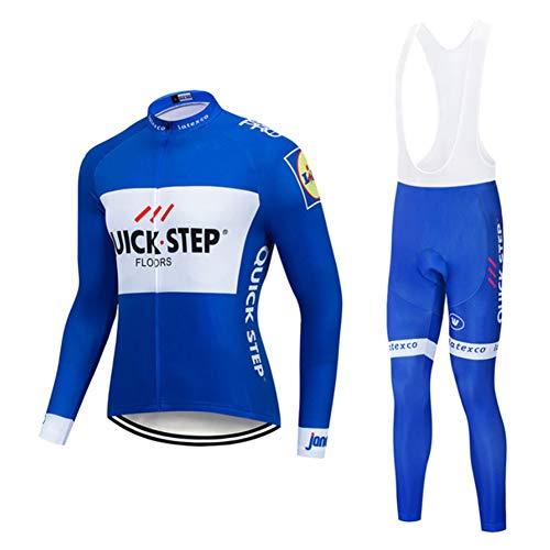 Quick.Step Classic Bicycle Sportswear - Winter Radfahren Trikots for Männer Langarm Pro Racing Club Blau - Outdoor Road Fahrrad Anti-UV MTB Radfahrenanzüge (Color : B, Size : XX-Large)