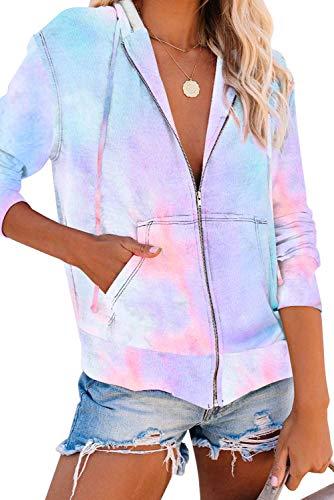 FANGJIN Damen-Kapuzenpullover mit Reißverschluss, Farbblock, Sweatjacke Gr. Small, Krawattenfarbe Himmelblau