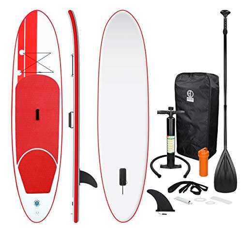 ECD Germany Tabla Hinchable Paddle Surf/Sup - Stand up Paddle Board - 308 x 76 x 10 cm - Rojo -PVC- Varios Modelos - Incluye Bomba, Mochila, Aleta Desprendible, Kit de Reparación, Remo Ajustable