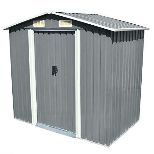 SKM Garden Storage Shed Grey Metal 204x132x186 cm