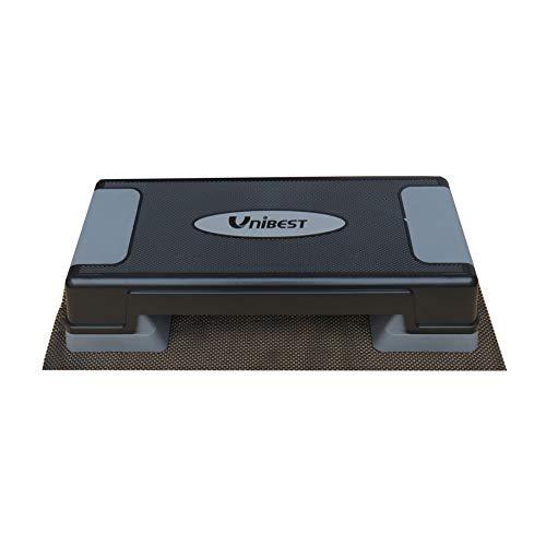 Unibest Aerobic Stepper Steppbrett Fitness Steppbrett höhenverstellbar 70x28cm (schwarz/grau mit Matte)