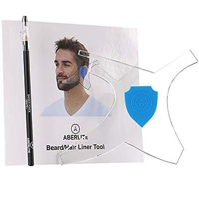 Aberlite Beard Shaper - Beard Lineup Tool W/Barber Pencil (White) - 100% Clear | Many Styles | Long Edges | Anti-Slip - The Ultimate Beard Shaping Tool (Blue) - Beard Stencil Guide - Works w/Trimmer