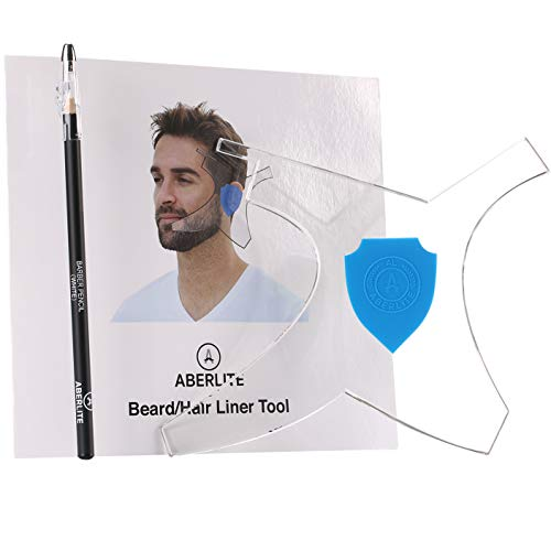 Aberlite ClearShaper - Beard Shaper Kit w/Barber Pencil - Premium Shaping Tool - 100% Clear | Many Styles - The Ultimate Beard/Hair Lineup (US Patent) - Beard Stencil Guide Template Outliner