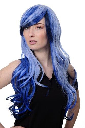 WIG ME UP - 2307-2217YE Damenperücke Perücke Cosplay Emo blau durchsträhnte lange Haarpracht leicht gelockt Scheitel