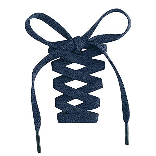 Stepace 2 Pares - Cordones Planos Para Zapatos, 8mm de Ancho, Cordones Premium de Reemplazo para Zapatillas, Atletismo, Zapatos Casuales Azul Marino 60cm