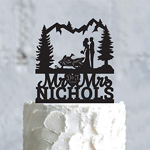 Snowmobile engagement last name Mr and Mrs wedding cake Toppersnow mobile outdoor mr mrs Topper vintage snowmobile pine tree Topper Custom Cake Topper for Party