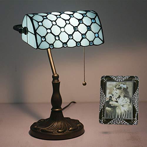 Tiffany Bankers Schreibtischlampe Vintage Glasmalerei Tischlampe für Büro & Zuhause TBD-002 Grün/Blau/Gelb,Blue
