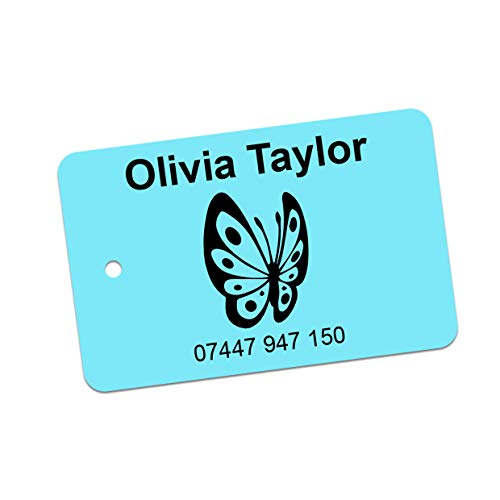 Personalised Printed School Bag Tags - Personalised Label with Name & Contact Info, Durable Printed Bag or Luggage tag. No More Lost Property (Teal, Pack of 2)