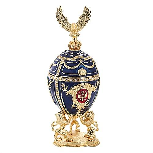 XZJJZ Cajas de joyería Retro del Huevo de Pascua del Huevo de la joyería con Caja del Collar del Pendiente de la exposición del Esmalte del Aceite Azul