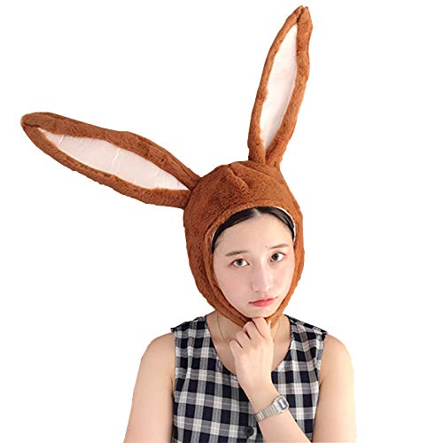 IUTOYYE Easter Bunny Hat Cute Rabbit Ears Costume Funny Party Favors Hats Easter Decorations (BROWN)