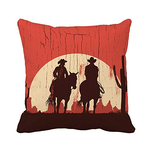 Throw Pillow Cover Western Silhouette of Cowboy Couple Riding Horses on Wooden Pillowcase Home Decorative Square Pillow Case Cushion Cover