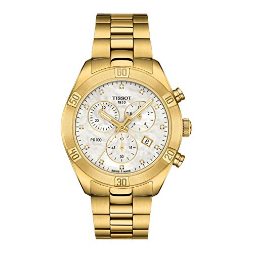 Tissot Damen-Chronograph PR 100 Sport Chic Edelstahl Gold T101.917.33.116.01