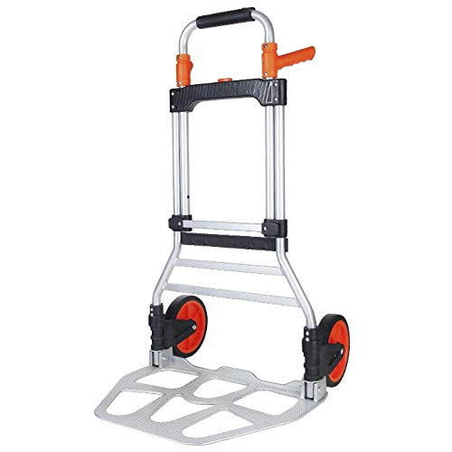 YAODFYL Iron Multi-Functional Hand Cart with Anti Puncture Tpr Casters and 120 kg Capacity,Silver Trolley Shopping Bags for Luggage, Moving And Office Use