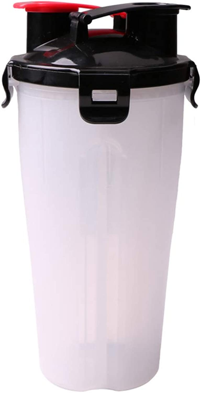 Pet Two Water Food Dispenser Cups Out Portable Storage Grain Barrel Kettle One Folding Bowl Dog Drinking Water Bottle Pet Supplies,White,A