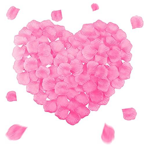 Unvtap Pétalos de Rosa 1000 Piezas de Pétalos de Rosa Artificiales pétalos de Rosa de Seda Artificial , Decoración Romantica para Bodas, Fiestas, día de San Valentín y Ambiente Romántico - Rosado