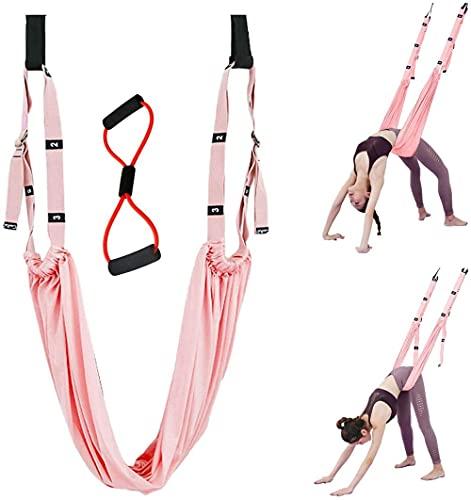 Pierna trasera de la cintura Correa del estiramiento / banda de fitness de yoga, entrenador de asistencia de estiramiento de la pierna, camilla de yoga, curva trasera Split Inversión Strap-Rosa