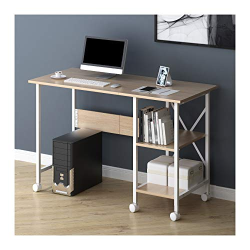 Cherry Tree Furniture 2-In-1 Extending Folding Computer Office Desk PC Workstation Table with Storage Shelf & Rolling Castors (Natural)