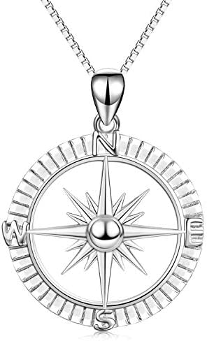 Sterling Silver Compass Pendant Necklace for Women Girls Unisex Vintage Nautical Necklace 18 product image