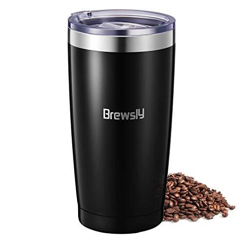 Brewsly Travel Mug Thermo, 900ml Edelstahl Isolierbecher, hält 6h heiß/12h kalt Kaffeebecher, Thermobecher mit Doppelwand Isolierung, BPA-frei, Mehrwegbecher für Kaffee, Tee und Bier,(Schwarz, 900)