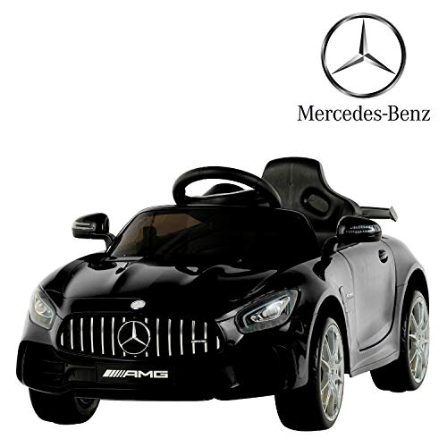 Uenjoy Electric Kids Ride On Car Mercedes Benz AMG GTR Motorized Vehicles with Remote Control, Battery Powered, LED Lights, Wheel Suspension, Music, Horn, TF Card, USB Port, Portable Handle, Black