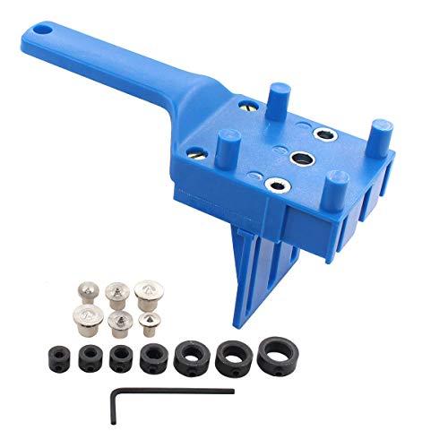 Bohrschablone Bohrerführung Dübelbohrlehre 6/8/10 mm Bohrer Tiefenstopps 3-12mm Holzdübel Zentrierspitzen für DIY Holzbearbeitung Zimmerei